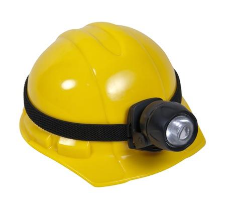 危険な暗いエリア - 含まれているパスを操作するための大きなランプの黄色ハード帽子