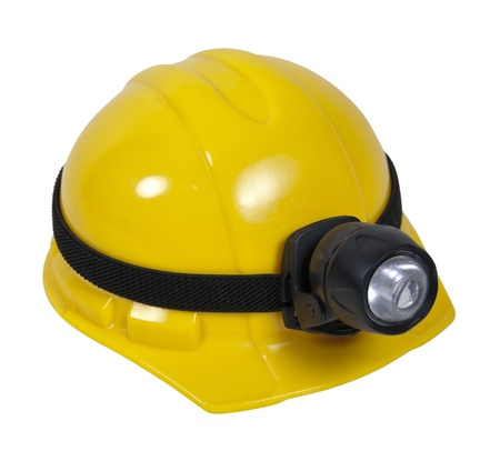 Yellow hard hat with large lamp for working in dangerous dark areas - path included