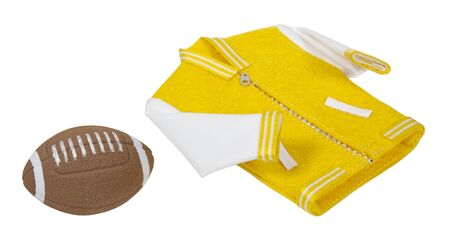 Football and student letterman jacket is a traditional school coat attire - path included Stock Photo - 11488134