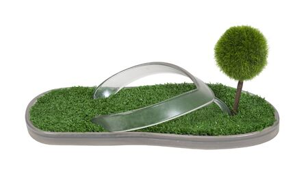 Green footprint shown by a green tree in sandals with artificial grass on the foot pad area - path included Stock Photo - 11488139