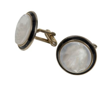 Cufflinks are a male accessory for a finished look on the sleeves - path included Stock Photo