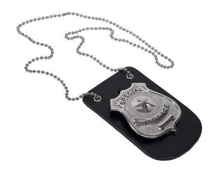 Silver special police badge with a star on leather holder with chain - path included