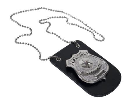 Silver speciale politie-badge met een ster op de lederen houder met ketting - pad opgenomen
