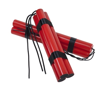 A couple of bundles of red sticks of dynamite with long fuses - path included Reklamní fotografie - 11488199