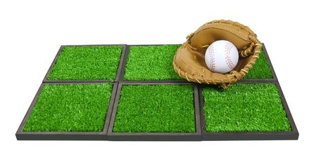 Leather baseball glove and baseball on artificial grass - path included Imagens - 11761108