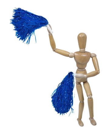 Cheerleader celebrating team cheer by waving pom poms - path included photo