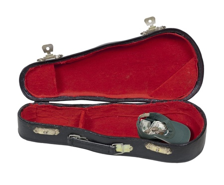 Music case with a hat full of money to hold tips during performances - path included
