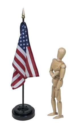 allegiance: Holding hand over heart while pledging to the American flag - path included