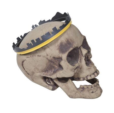 Skull wearing a crown that looks like the skyline of a city - path included Imagens