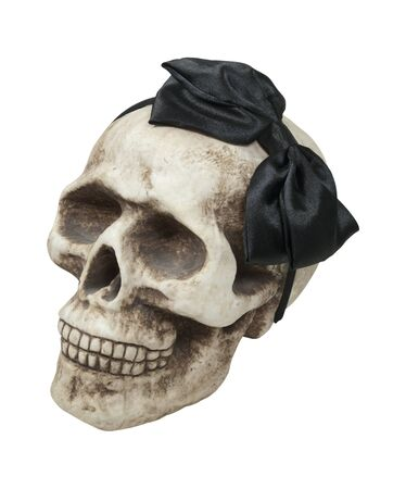 Girl skull shown by a skull wearing a black bow