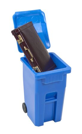 Recycling employment positions shown by a leather briefcase in a recycling bin - path included