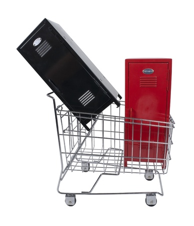 Metal schooll lockers used to store items in a shopping cart - path included photo