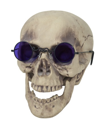 Skull with eye sockets and teeth wearing purple glasses - path included
