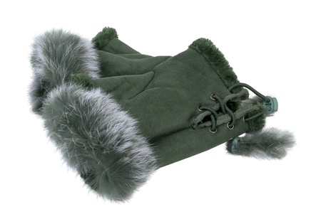 fingerless gloves: Fur-trimmed leather fingerless gloves with woven ties - path included