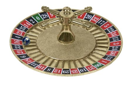 Roulette Wheel used in a casino gambling game with a globe for the ball