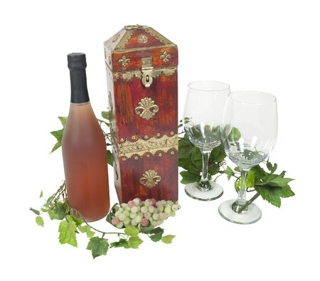 glasswear: Wine box brass with a bottle and wine glasses