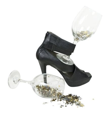 glasswear: Black leather high heel shoes for special occasions with wine glasses full of stars