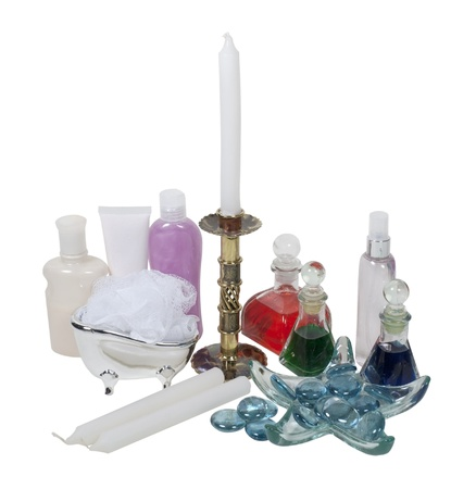 Lotion, potions, candles and relaxation items used for home spa treatment  Banco de Imagens