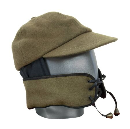 face guard: Green military wool hat with face guard  Stock Photo