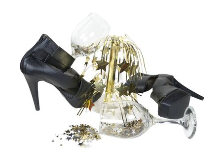 occasions: Black leather high heel shoes for special occasions with golden cascading stars and wine glasses.