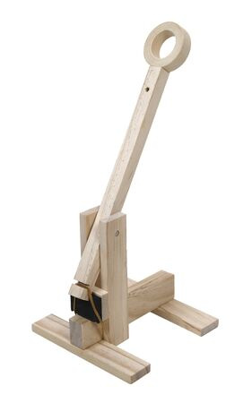 A wooden trebuchet used to throw objects at an opponent Stock Photo