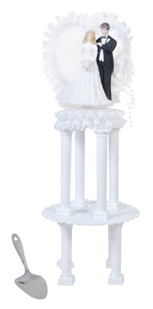 topper: Bride and groom cake topper on a cake stand with no wedding cake - path included