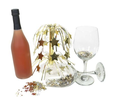 glasswear: Cascading stars with wine and glasses pouring stars - path included Stock Photo