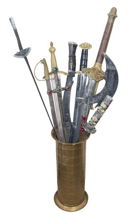 sturdy: Assorted Swords with sturdy hilts in a brass stand are a sign of power and respect Stock Photo