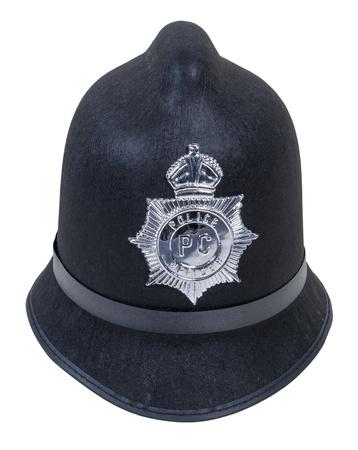 Black Engels Bobby politieagent hoed met badge - pad opgenomen Stockfoto