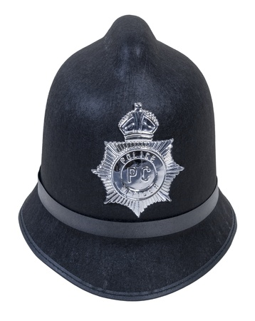 Black English Bobby policeman hat with badge - path included Stock Photo