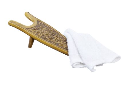 Shoe wedge used to hold a shoe when shining shoes with a cloth -  included Stock Photo - 14815838