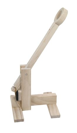 A wooden catapult used to hurdle objects at an opponent - included