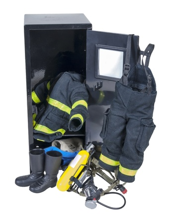Fireman protective gear in a locker used for fighting fires and saving lives - path included