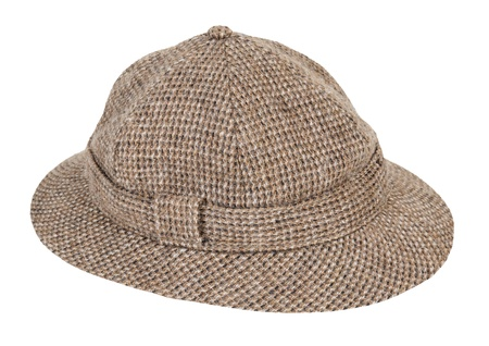 Brown and white Houndstooth Pith Hat worn for shade while adventuring - path included Reklamní fotografie - 15063524