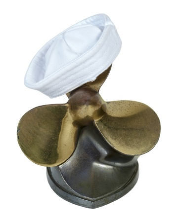 propel: Sailor hat on a set of propeller and  blades used on a boat engine to propel through the water