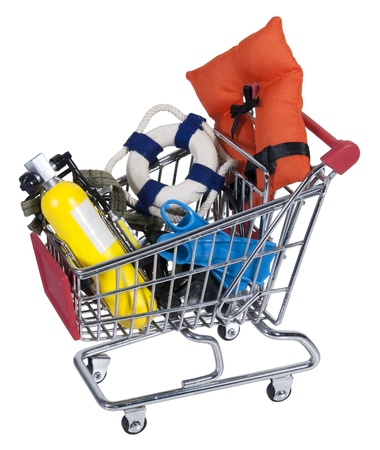 emergency cart: Shopping cart made of metal holding water sport equipment Stock Photo