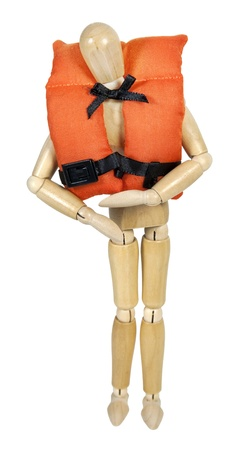 security vest: Wearing a life vest with security belts for nautical safety - path included