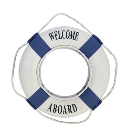 Welcome Aboard round floatation life preserver with rope handles for easy grabbing during emergencies - path included