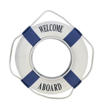 Welkom aan boord ronde 'floating' reddingsboei met touw handgrepen voor gemakkelijk grijpen tijdens noodsituaties - pad opgenomen Stockfoto - 15063254