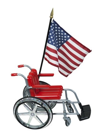Patriotic American flag next to a wheelchair