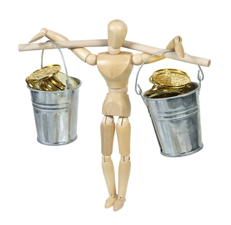 Balancing buckets filled with gold coins with a pole through the handle