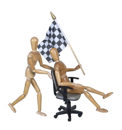 Checkered flag on an office chair race  photo