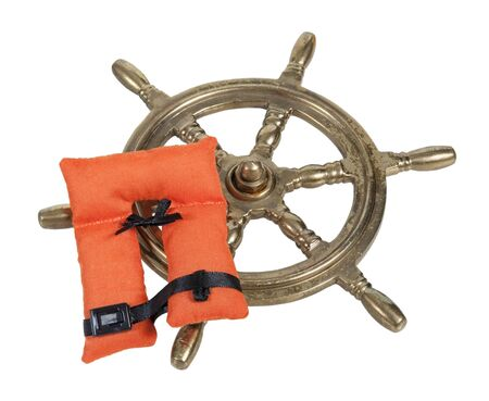 Brass ship steering wheel with life vest