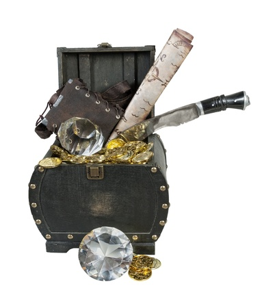 Treasure of gold and diamonds in a wooden trunk with a flask, map and dagger  Stock Photo - 15309912
