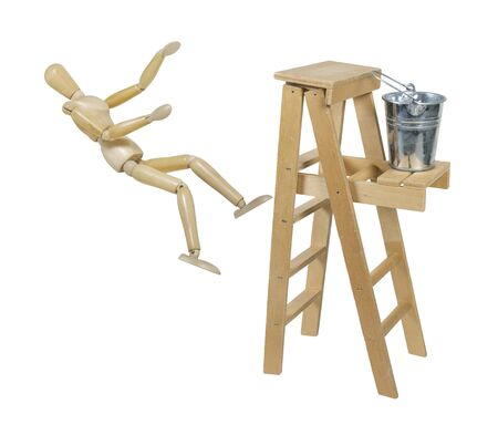 Falling off a Ladder used for moving up or reaching higher goals  Stockfoto