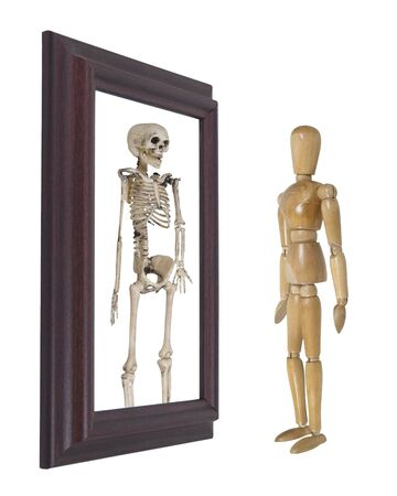mortality: Model looking into a mirror and seeing a skeleton  Stock Photo