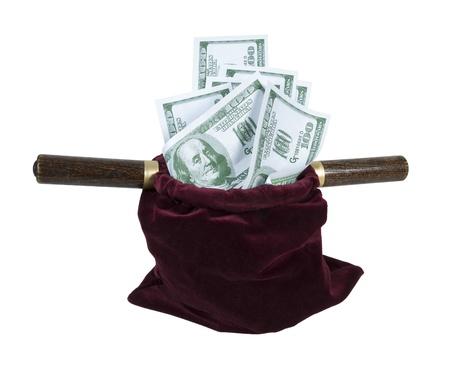 Velvet offering bag used in church for collecting tithing full of money