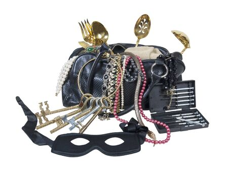 Outlaw burglar kit with tooks, keys, mask and a large bag to carry treasures in Stock Photo - 16210590