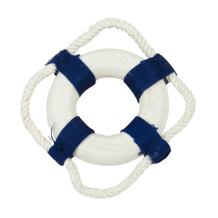 Round floatation life preserver with rope handles for easy grabbing during emergencies