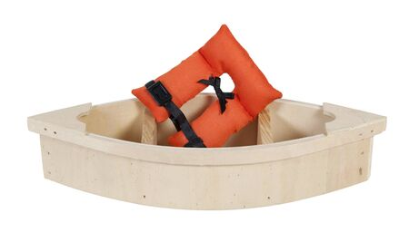 emergency vest: Life vest with security belts for nautical safety in a Wooden Boat - path included